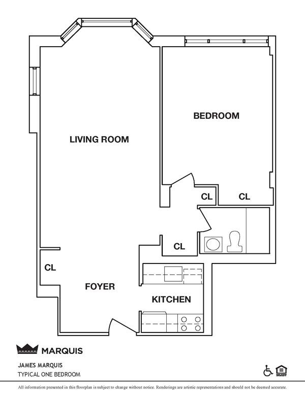 101 West 90th: Typical 1BR (Floorplan)