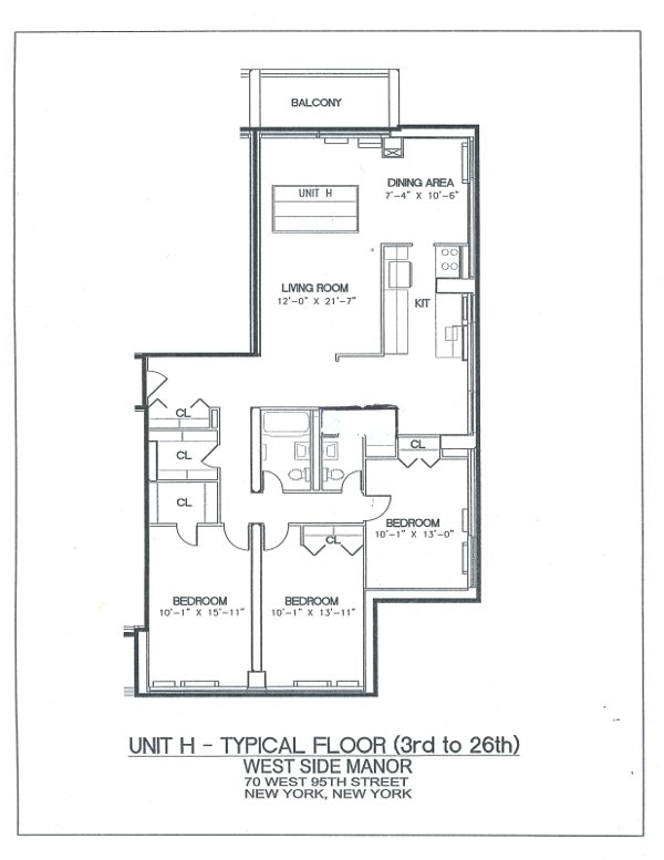 70 West 95th street: Typical 3BR (Floorplan)